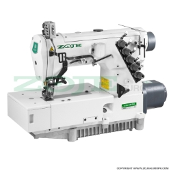 3-needle flat bed coverstitch (interlock) machine with built-in AC Servo motor and needles positioning - machine head