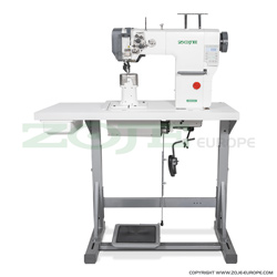 Automatic 2-needle post-bed lockstitch machine with bottom and upper roller feed, with AC Servo motor - complete sewing machine