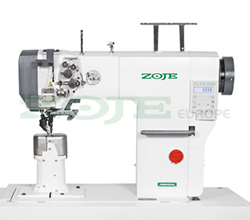 Automatic 2-needle post-bed lockstitch machine with bottom and upper roller feed, with AC Servo motor - machine head