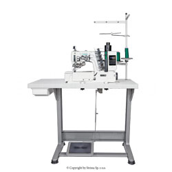 3-needle interlock with a flat bed with built-in AC Servo motor and automatic needle positioning - complete machine